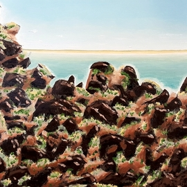 Dave Martsolf: 'breakwater rockpile', 2020 Oil Painting, Seascape. Artist Description: This painting will be shipped framed, wired and ready to hang. ...