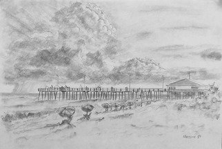 Dave Martsolf: 'cape hattteras summer day', 1982 Charcoal Drawing, Landscape. This charcoal drawing was made during a vacation to Cape Hatteras in 1982. ...