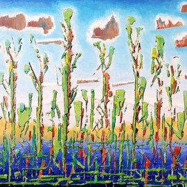 Dave Martsolf: 'cattails', 2020 Oil Painting, Abstract Landscape. Artist Description: This painting will be shipped framed, wired and ready to hang. ...