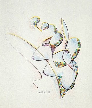 Dave Martsolf: 'clef', 2017 Ink Drawing, Abstract. Artist Description: A simple abstract shape with a colorful pattern that reminds me of the clefs of a musical staff. ...