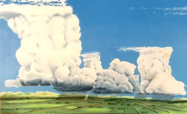 Dave Martsolf: 'cumulonimbus party', 2019 Oil Painting, Fantasy. This piece was painted on gallery wrapped canvas requiring no frame with sides painted a very dark blue green gray, almost black.  If purchased, this painting will ship wired and ready to hang. ...