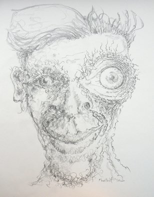 Dave Martsolf: 'eye captain', 2010 Pencil Drawing, Portrait. Artist Description: This work will ship rolled in a tube. ...
