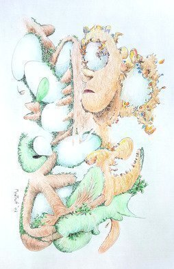 Dave Martsolf: 'fecundity', 2018 Pencil Drawing, Surrealism. Artist Description: Fecundity is a surreal abstraction of the state of fecundity, which also means fertility or innovation in ideas or designs.  Eggs are seen growing like fruits on a tree.  Is the human a hatchling, or  a steward of this incubator   The original drawing was completed in 2002 and ...