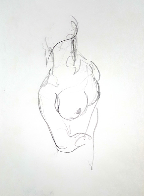 Dave Martsolf  'Female Nude Torso', created in 1982, Original Drawing Pastel.