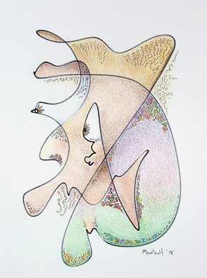 Dave Martsolf: 'i-sight', 2018 Pencil Drawing, Fantasy. Artist Description: Abstract of a human face in profile with very strange eyes and facial construction. ...