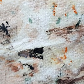 Dave Martsolf: 'man chased by mountain lion', 2018 Color Photograph, Abstract. Artist Description: This is a photograph of oil paint in various mediums applied to an absorbent paper towel.  My abstracts often remind me of recognizable shapes.  In this case I was reminded of ancient cave paintings.  I saw a man as a black stick figure on the left being chased ...
