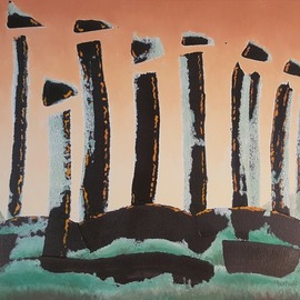 Dave Martsolf: 'neolithic sunrise', 2019 Oil Painting, Architecture. Artist Description: If purchased, this work will be shipped framed, wired, and ready to hang. ...