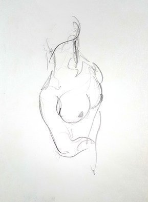 Dave Martsolf: 'nude', 1982 Pencil Drawing, Nudes. Artist Description: A female nude torso signed on the back of the paper...