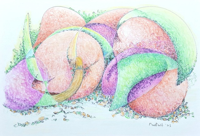 Dave Martsolf  'Peaches And Plums', created in 2017, Original Drawing Pastel.