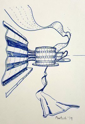 Dave Martsolf: 'ribbons', 1979 Pen Drawing, Still Life. A close up of a ribbon on a breakfast table with a cup of tea in the background. ...