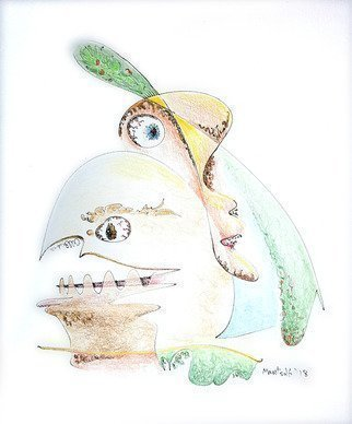 Dave Martsolf: 'the egg and i', 2018 Pencil Drawing, Fantasy. Artist Description:  The Egg and I  is an original drawing in ink on paper that was then hand- colored with colored pencils.  The egg is cracked and I look on  Mr. Blue Eyes . ...