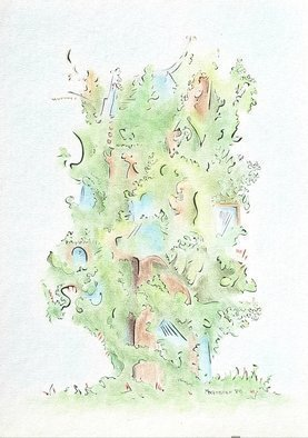 Dave Martsolf: 'treehouse', 1980 Other Drawing, Architecture. This ink and colored pencil on illustration board piece will ship matted and shrink- wrapped, ready to accept a standard frame size available at your local arts and crafts store. ...