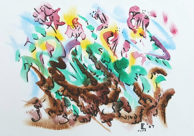 Dave Martsolf  'Wild Flowers Two', created in 2007, Original Drawing Pastel.
