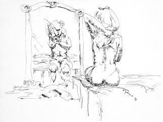 Dave Martsolf: 'woman bathing', 1978 Ink Drawing, nudes. This piece will ship matted and shrink- wrapped with no frame. ...