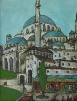 David Zylstra: 'Blue Mosque', 2007 Oil Painting, Architecture.  Small painting of Blue Mosquein Istanbul. ...