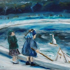 David Rocky Aguirre: '2 girls 2 boats', 2009 Oil Painting, People. Artist Description:  This image seems to be around the 50s in France.  In the slide, it looks like the girl on the left may just be adjusting her hat.  In the painting, it looks like she is holding her head because her boat is heading towards her friends boat.This ...