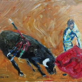 David Rocky Aguirre: 'Bull Fight', 2008 Oil Painting, Western. Artist Description:  Oil on hardboard. Bullfight  ...