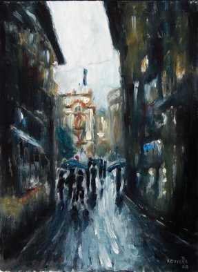 Artist: David Rocky Aguirre - Title: Venice dark alley - Medium: Oil Painting - Year: 2008