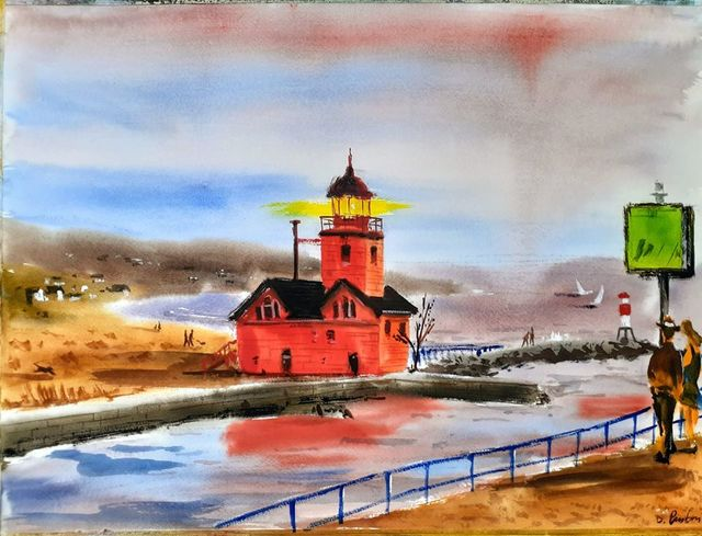 Davide Piubeni  'Big Red Lighthouse', created in 2020, Original Watercolor.