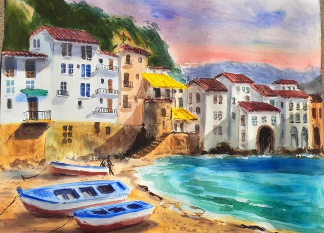 Davide Piubeni  'Cefalu Italy', created in 2020, Original Watercolor.