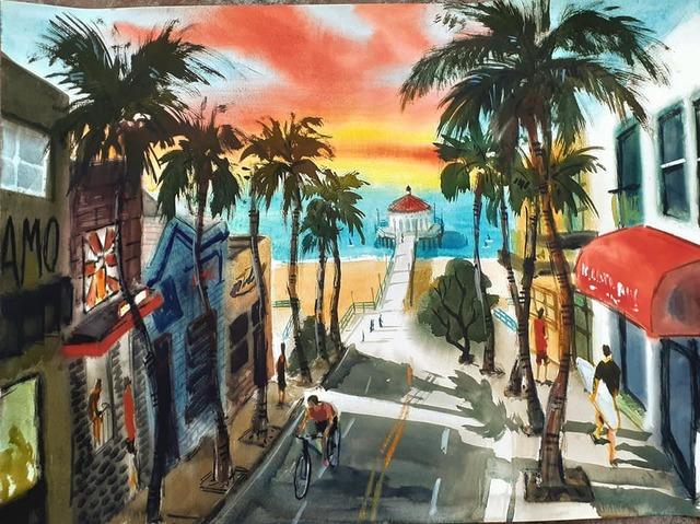 Davide Piubeni  'Manhattan Beach California', created in 2020, Original Watercolor.