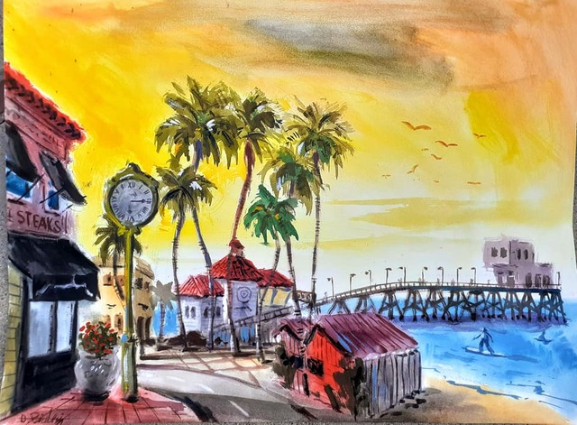 Davide Piubeni  'Newport Beach California', created in 2020, Original Watercolor.