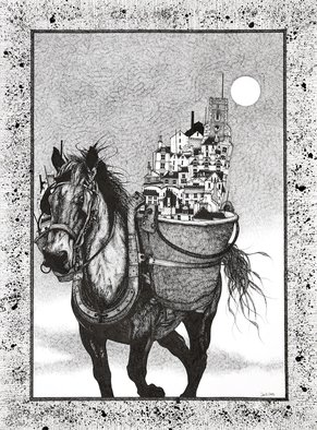 David Evans: 'one horse town', 2017 Ink Drawing, People. Artist Description: Ink drawing on paper...