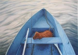 David Larkins: 'Braxtons Day Out', 2004 Giclee, Dogs.  Braxton is a two- year old Golden Retriever belonging to my friend Andy. He takes Braxton everywhere he goes, including a fishing trip on Fletcher's Pond in Mio, Michigan.  In creating