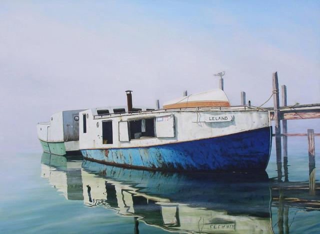 Artist David Larkins. 'Fishtown Morning' Artwork Image, Created in 2006, Original Giclee Reproduction. #art #artist