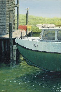 David Larkins: 'Joy', 2009 Giclee, Marine.  Fishtown is a collection of weathered fishing shanties, smokehouses, overhanging docks and fish tugs along the Leland River in Leland, Michigan.Once the heart of a commercial fishing village