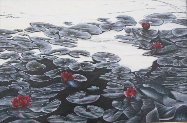 Artist David Larkins. 'Lillies Rouges De Leau' Artwork Image, Created in 2005, Original Giclee Reproduction. #art #artist