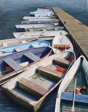David Larkins: 'Lobstah Row', 2006 Giclee, Marine. The Maine lobstermen use their dinghies as daily water taxies to ferry them out to the moored lobster trawlers and back. Each dinghy, with their colorful and unique personality, is tied to the leeward side of the dock of