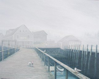 David Larkins: 'Oliver', 2006 Giclee, Dogs.  Walking along the wharf in Port Clyde, Maine on a foggy Sunday morning my wife and I had an uncanny reminiscence impression. It reminded us of scene in the movie