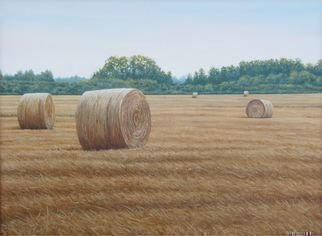 David Larkins: 'Rolled Oats', 2012 Acrylic Painting, Americana.    One of the hottest days of this year was around July 4th, which is also when the winter wheat and oats are harvested. The temperature was 104 degrees when I did my study for