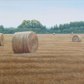 David Larkins: 'Rolled Oats', 2012 Acrylic Painting, Americana. Artist Description:    One of the hottest days of this year was around July 4th, which is also when the winter wheat and oats are harvested. The temperature was 104 degrees when I did my study for