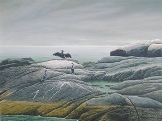 David Larkins: 'Sacred Pool of Egg Rock', 2007 Giclee, Marine.   Egg Rock Island located, off the coast of Maine, is a Puffin breading ground but also a gathering place for cormorants that need to spread their wings to dry before the next foraging dive.While painting