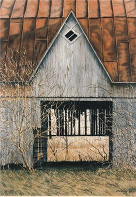 David Larkins: 'The Cyclops', 1985 Watercolor, Landscape. I was driving down a country road in Maybee Michigan, glanced out the side window and saw this mythological Cyclops glaring back at me. The single window ( the eyeball) , the barn door with all of the loose boards ( the mouth and teeth) , all became maniacal to me. I used an ...