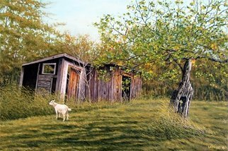 David Larkins: 'Windfall', 2016 Acrylic Painting, Farm.  aEURoeWindfallaEURWhile visiting my niece and her husbandaEURtms farm in MichiganaEURtms Upper Peninsula last summer, I had a great opportunity to explore all the old out buildings, and of course, there were goatsI loved the old aEURoeGrand DadaEUR apple tree, still producing fruit even though one could...