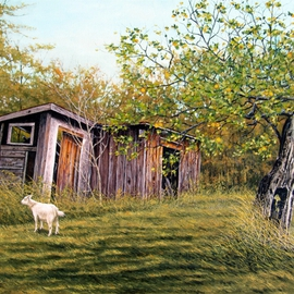 David Larkins: 'Windfall', 2016 Acrylic Painting, Farm. Artist Description:  aEURoeWindfallaEURWhile visiting my niece and her husbandaEURtms farm in MichiganaEURtms Upper Peninsula last summer, I had a great opportunity to explore all the old out buildings, and of course, there were goatsI loved the old aEURoeGrand DadaEUR apple tree, still producing fruit even though ...