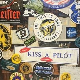 David Larkins: 'americana', 2019 Oil Painting, Americana. Artist Description: When you visit HogaEURtms Breath Saloon in Key West, Florida it is customary to leave behind a sticker, license plate or business card, a piece of who you are, a snapshot of America, every possible spot in the saloon is embellished with them We all have a ...