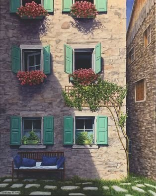 David Larkins: 'boungiorno pesariis', 2021 Oil Painting, Travel. I loved the old world charm of Pesariis, Italy while we were hiking the Dolomites a few tears ago. Time seems to stand still in the small Italian village. ...