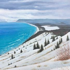 David Larkins: 'empire bluff trail', 2017 Acrylic Painting, Seascape. Artist Description: One of our favorite hiking trails in Michigan.Reaching the trails end, we are awarded with this spectacular vista of the Sleeping Bear Dunes National Lakeshore It s always breathtaking in any season, but I wanted to capture it in winter, the aqua breen water contrasted against the ...