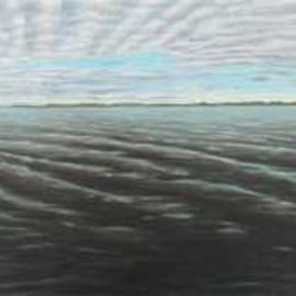 David Larkins: 'grand traverse bay', 2017 Acrylic Painting, Seascape. Artist Description: While staying at a B B in Suttons Bay, MI last year, we loved to sit out on the dock, sip some wine and absorb the spectacular vista known as Grand Traverse Bay  ...