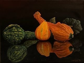 David Larkins: 'gremlins and granite', 2020 Oil Painting, Still Life. After last years gourd harvest I placed some on our granite island and took severa  pictures not knowing if i d ever do something with them.Well, strange times makes strange still life s ...