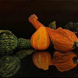 David Larkins: 'gremlins and granite', 2020 Oil Painting, Still Life. Artist Description: After last years gourd harvest I placed some on our granite island and took severa  pictures not knowing if i d ever do something with them.Well, strange times makes strange still life s ...