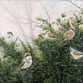 David Larkins: 'juniper covey', 2017 Acrylic Painting, Birds. Artist Description: I have a bird feeder outside of my studio window, which I installed to give me a peaceful break from painting when needed.This winter a covey of Sparrowi? 1/2s and Tufted Tit Mouse birds decided to take up residence in the Juniper bush by the bird feeder - ...
