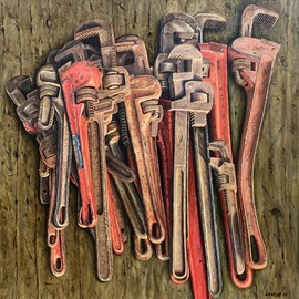 David Larkins: 'just in case', 2017 Acrylic Painting, Farm. Artist Description: While we were sorting through my late father- in- lawaEURtms barn preparing for the farm auction we continued to run across all sorts of monkey and pipe wrenches.They kept on accumulating and when we were finished I noticed the pile of them sitting on the trailer ...