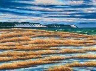 David Larkins: 'lake michigan cold front', 2020 Oil Painting, Seascape. Snow squalls pass and the brisk cold air advances from the northwest across thr big lake.Capturing the cold clean atmosphere was my goal when I painted this amazing scene in Elberta, Michigan. ...