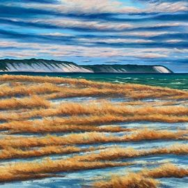David Larkins: 'lake michigan cold front', 2020 Oil Painting, Seascape. Artist Description: Snow squalls pass and the brisk cold air advances from the northwest across thr big lake.Capturing the cold clean atmosphere was my goal when I painted this amazing scene in Elberta, Michigan. ...