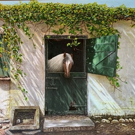 David Larkins: 'pinto stewart of bunratty', 2019 Oil Painting, Farm. Artist Description: While visiting Ireland this year we went to Bunratty Castle, in a small villiage next to the castle I came across this wonderful stable, I told my wife Laura that all I needed was a horse to put in the stable door. She immediatly said Pinto, her first ...